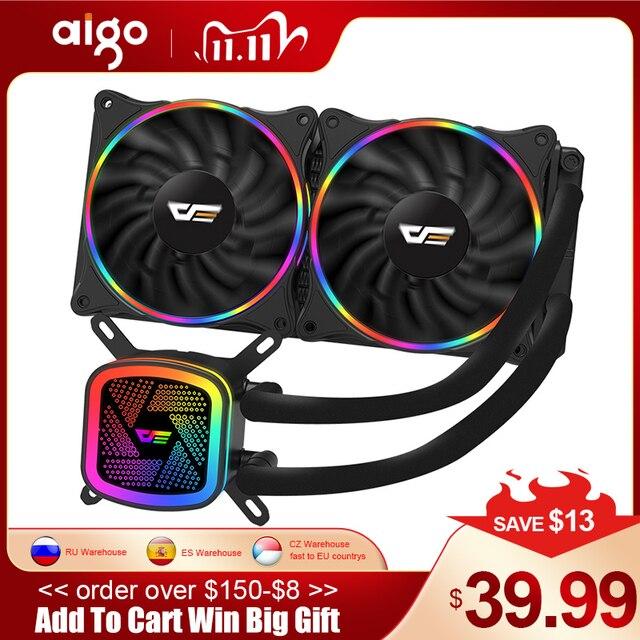 Aigo PC Ốp Lưng Nước Làm Mát Máy Tính CPU RGB Nước Mát Tản Nhiệt Tích Hợp Làm Mát CPU Tản Nhiệt LGA 1151/2011/AM3 +/AM4