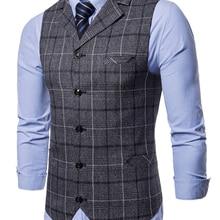 Mens Vest Waistcoat Blue Male Smart-Casual Sleeveless Suit Business Fashion New Lattice