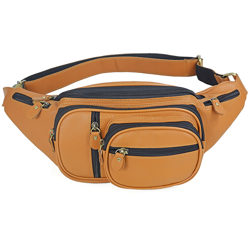 Men Genuine Leather Waists Bag Male Casual Travel Cow Leather Chest Bags Men's Sling Fanny Pack Boy Fanny Messenger  Bags
