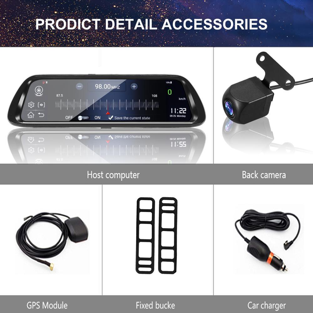 Android 8.1 Car DVR GPS Navigator Camera 10Inch FHD 1080P Stream Media Rear View Mirror 4G GPS Mirror Dash Cam Recorder ADAS Wif - 6