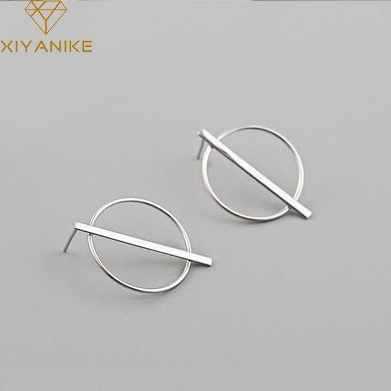 XIYANIKE 925 Sterling Silver Prevent Allergy Handmade Stud Earrings For Women Wedding Couple Creative Geometric Jewelry Gifts