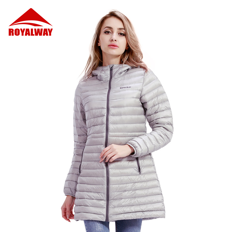 ROYALWAY Women Outdoor Long Down Coat 90% Down Content White Duck Down Bonnie Fashion Leisure Sportswear RFDL4185G