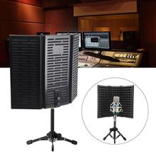 Soundproof Filter Studio Recording Isolation Shield Easy Install With Tripod Stand Tabletop Microphone Acoustic Foldable Compact