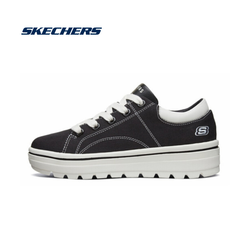 Skechers Canvas Shoes Woman Fashion Spring Summer Casual Shoes Women Platform Vulcanized Sneakers Female Brand Luxury 74100-BLK