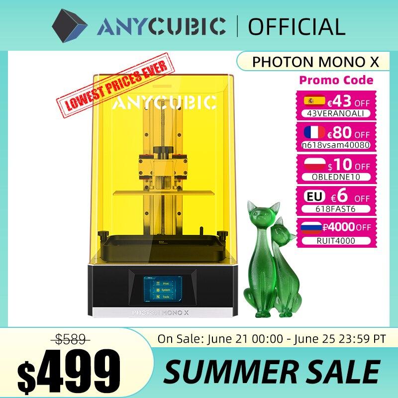 ANYCUBIC Фотон подойдет как для повседневной носки, так X 3D-принтеры 8,9 дюймов 4K монохромный ЖК-дисплей УФ Смола принтеры 3D печать высокого Скоро...