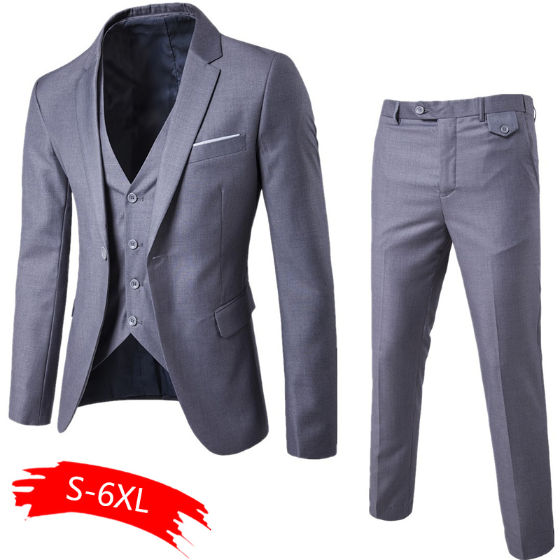 Men's Fashion Slim Suits Men's Business Casual Clothing Groomsman Three-piece Suit Blazers Jacket Pants Trousers Vest Sets