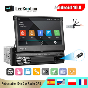 LeeKooLuu Android 10.1 1Din Car Radio GPS Retractable 7'' Touch Screen Wifi Autoradio 1 Din Car Multimedia MP5 Video Player