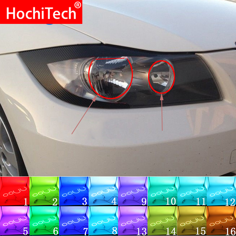 For BMW 3 Series E90 2005 - 2008 Accessories Latest Headlight Multi-color RGB LED Angel Eyes Halo Ring Eye DRL RF Remote Control