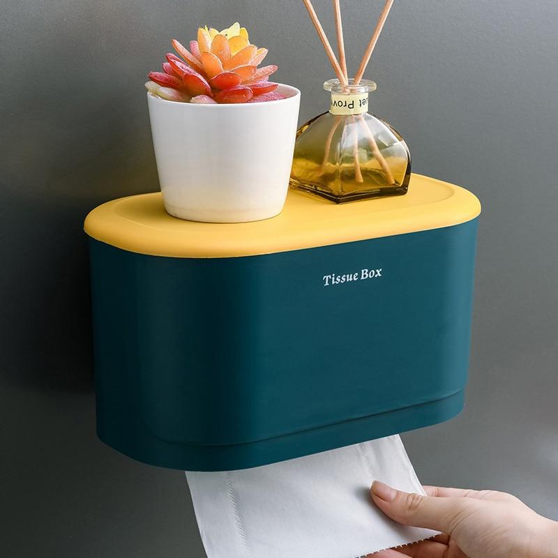 Wall Mounted Portable Toilet Tray Household Storage Box Waterproof Tissue Box Bathroom Storage Home Bathroom Accessories