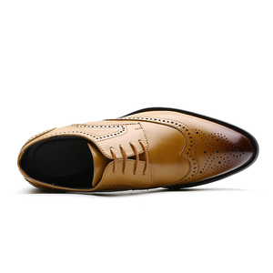 Image 4 - Men Dress Shoes Brogue Style Paty Leather Wedding Men Flats Leather Oxfords Formal Shoes