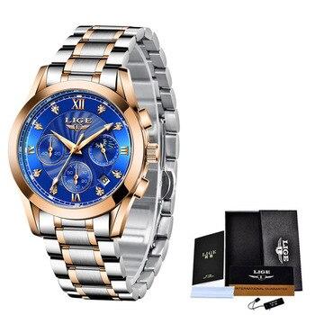 LIGE 2021 New Fashion Watch Women Watches Ladies Creative Steel Women Bracelet Watches Female Waterproof Clocks Relogio Feminino 12