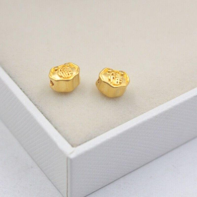 Real 24K Yellow Gold Lock Pendant 3D Craft Small Lucky Lock Bead Pendant