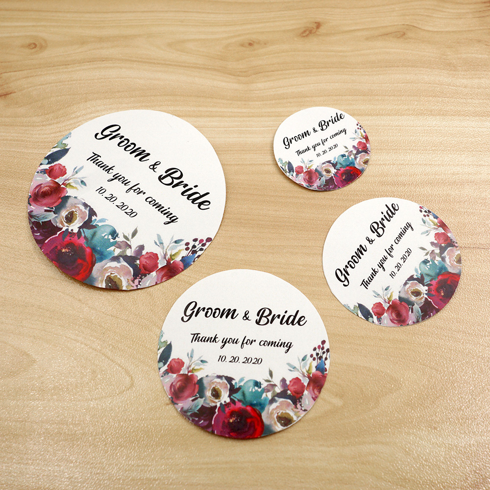 3/4/5/6cm Custom Wedding Sticker Round Name Logo Waterproof Personalized Label Candy Favors Tags For Gift Boxes Birthday Baptism