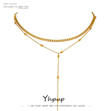 Yhpup Exquisite Layered Long Pendant Stainless Steel Necklace Charm Metal подвеска Choker Necklace Stylish Jewelry Office Gift