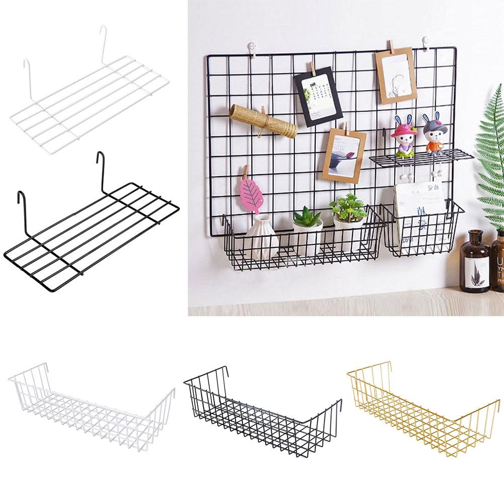 New Wall Decoration Iron Frame Hanging Rack Wall Display Storage Box Multifunction Mesh Wire Metal Wall Shelf
