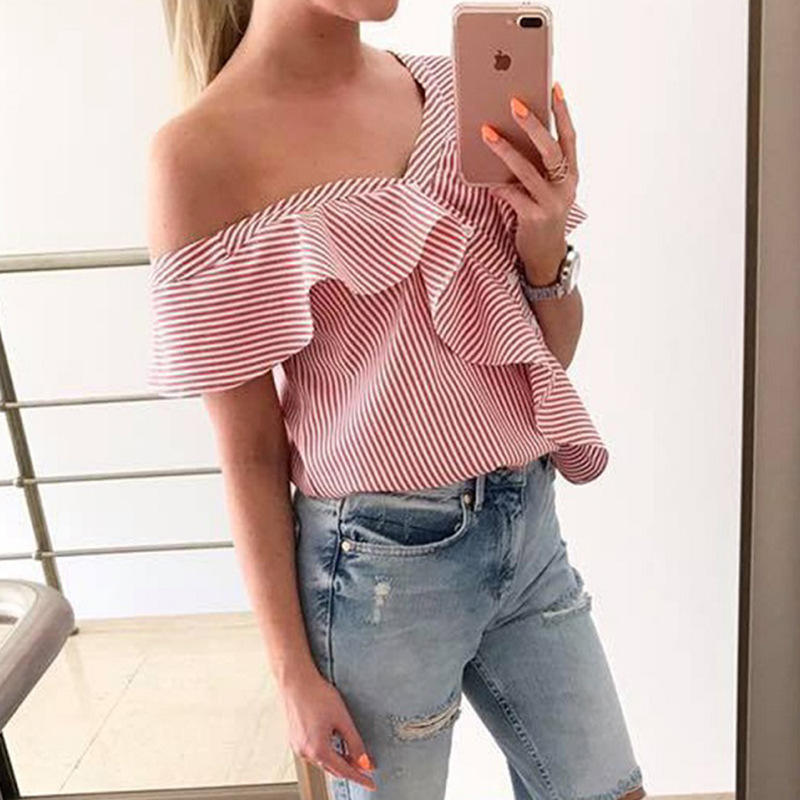 women blouse fashion 2020  female ladies clothing womens stried sexy summer autumn printed top shirt top 90s
