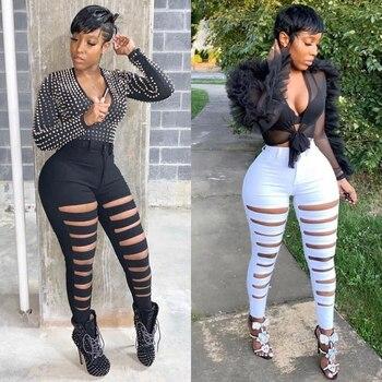 Womens Distressed Denim Pants