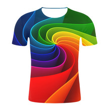 New fashion design  Men t shirt Round Neck Short Sleeves Geometric abstract 3D Digital Printing T-shirt Male Tops For Summer white botton back design stripe round neck long sleeves t shirt