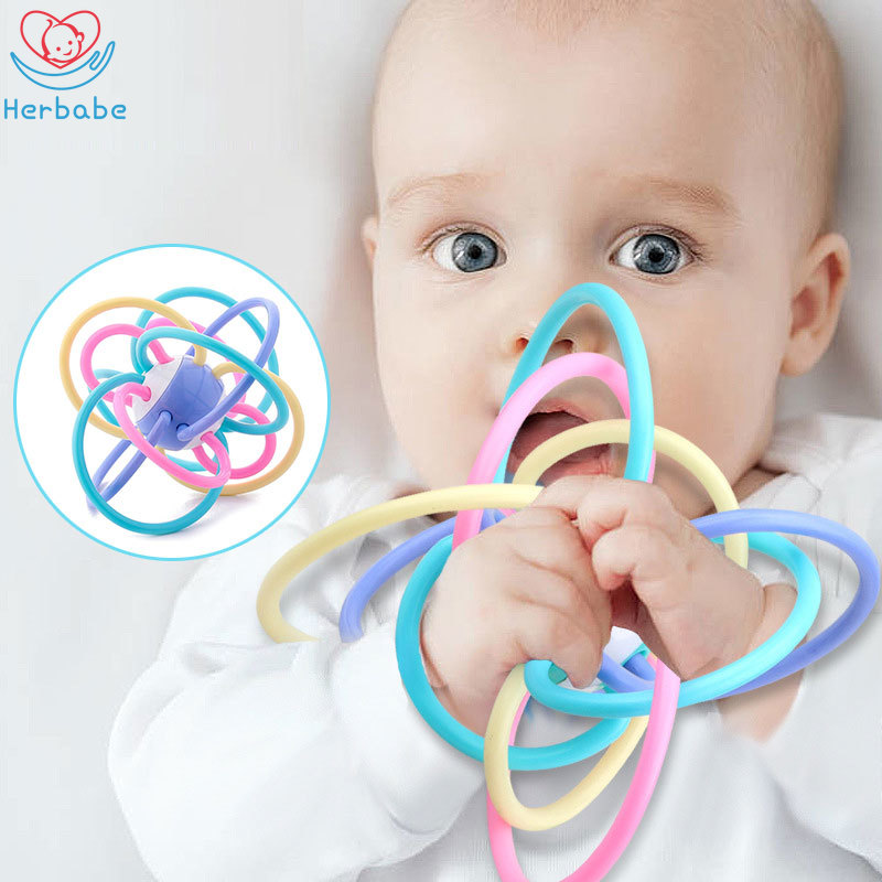 Herbabe Baby Toys 0-12 Months Newborn Boys Girls Manhattan Ball Rattles Safe Soft Soothing Teether Toddler Educational Toys 0-3T