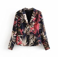 HCBLESS Women's 2019 autumn new flower print casual small suit women's suit jacket