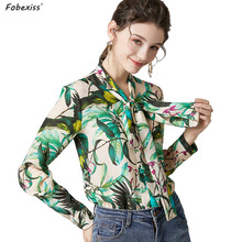 Элегантные зеленые шелковые рубашки для женщин, высокое качество, длинный рукав, однобортный, натуральный шелк, блузки с бантом, воротник для офиса