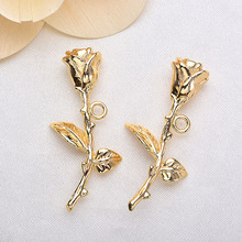 4 Pcs 32x17 mm 24 K Champagne Gold Color Coated Brass Rose Charms Pendants High Quality Diy Jewelry Accessories