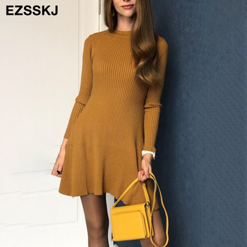 2020 basic autumn winter short aline thick sweater dress elegant knit dress women slim mini dress Female  chic knit sexy dress