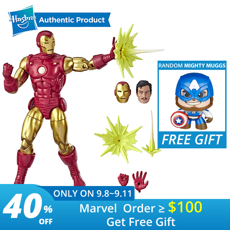 """Hasbro Marvel Legends Series 80th Anniversary 6"""" Classic Iron Man Tony Stark 6 inch Vintage Comic Inspired IRO Action Figures-in Action & Toy Figures from Toys & Hobbies    1"""