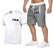Ropa Deportiva de ocio para hombre, traje con estampado de letras, para correr, camiseta y pantalones, 2 piezas, moda de verano,