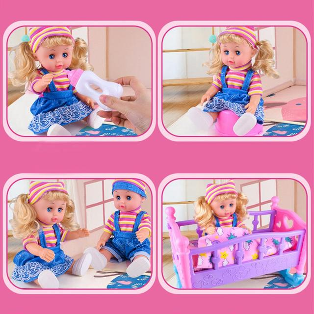 DIY Girls Toys Play House Pretend Play Furniture Toy Baby Doll Accessories Simulation Bunk Bed For Dolls Shaking Trojan Juguetes 2
