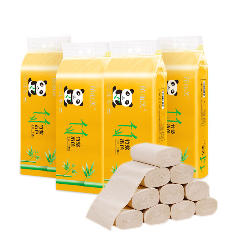 60pcs Toilet Roll Paper Bamboo Fiber Tissue Bathroom Toilet Paper Absorbent Antibacterial Extractable Facial Tissue Health
