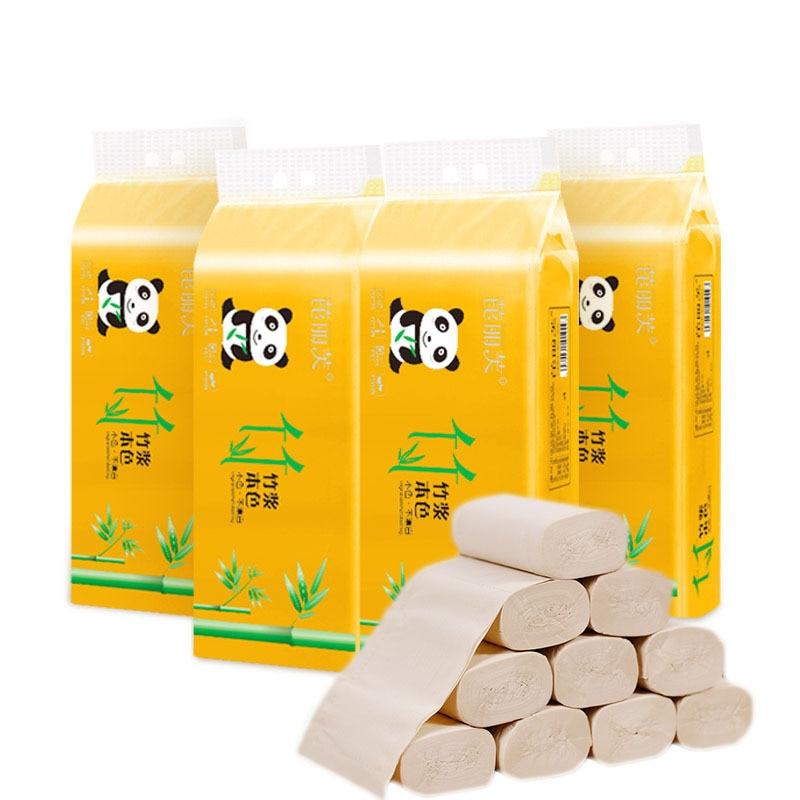 60pcs Toilet Roll Paper Bamboo Fiber Tissue Bathroom Toilet Paper Absorbent Antibacterial Extractable Facial Tissue Health