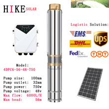 цена на Hike solar equipment 4 DC Submersible Solar Powered Pump 48V 750W MPPT Controller Head 56m Deep Well Water Pump 4DPC6-56-48-750