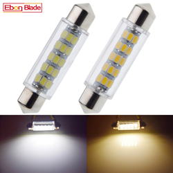 2Pcs 44mm 1.73in LED Car Interior Dome Map Festoon Lamp License Plate Light Trunk Bulb C5W C10W 3020 15 SMD 12V DC Warm White