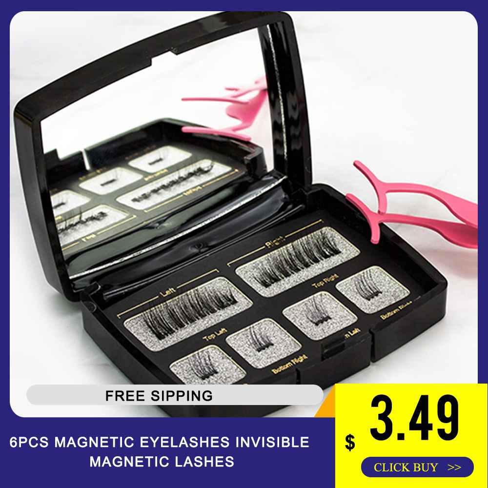 6Pcs Magnetic Eyelashes Invisible Magnetic Lashes Mink Eyelashes With Tweezers 3D Mink Lashes Thick Full Strip False Eyelashes