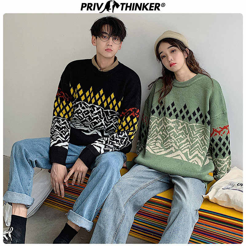 Privathinker Couple Geometric Vintage Sweaters Men Woman Loose Pullovers Tops Clothing Men's Knitted Fashion Autumn Warm Sweater