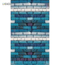 Laeacco Photo Backgrounds Brick Wall Blue White Color Child Portrait Photography Backdrops Photocall Photo Studio Shoot kate photography backdrops three small snow man scenery backdrop mountain photocall backgrounds for photo shoot