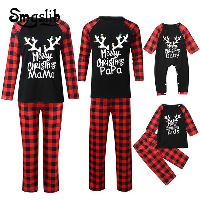 Family Christmas Matching Pajamas Set 2020 Xmas Adult Kids Pyjamas Nightwear Baby Romper Merry Christmas Family Matching Outfits