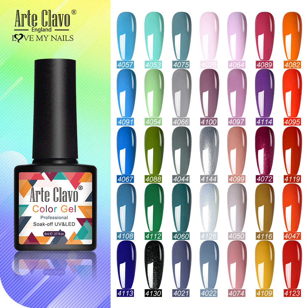 Seni Clavo 8 Ml Gel Nail Polish Minyak Hybrid Pernis Kuku Semi Permanen LED UV Manikur Warna-warni Gel Lak top Pernis Dasar