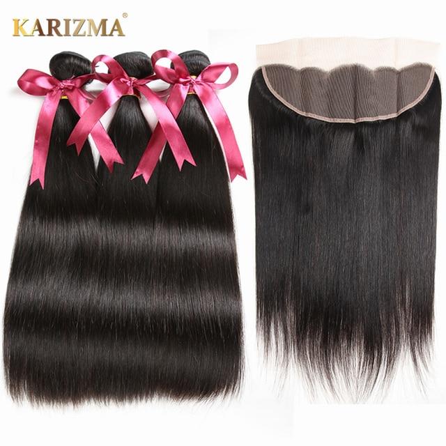 Karizma Brazilian Straight Hair Bundles With Frontal 13x4 Closure 100% Human Hair Bundles With Frontal Remy Hair Extension