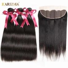 Karizma peruwiańskie proste włosy wiązek włosów z Frontal 13x4 zamknięcie 100% człowieka wiązki włosów z Frontal włosy inne niż remy rozszerzenia