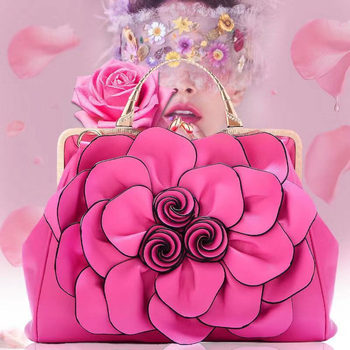 Fashion womens flowers handbags new quality real leather fresh bag square flower shoulder