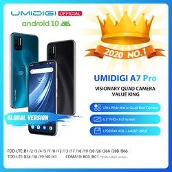 В наличии UMIDIGI A7 Pro Quad Camera Android 10 OS 6,3 дюймFHD + полный экран 64 Гб/128 ГБ ROM LPDDR4X Восьмиядерный глобальная Версия Телефона