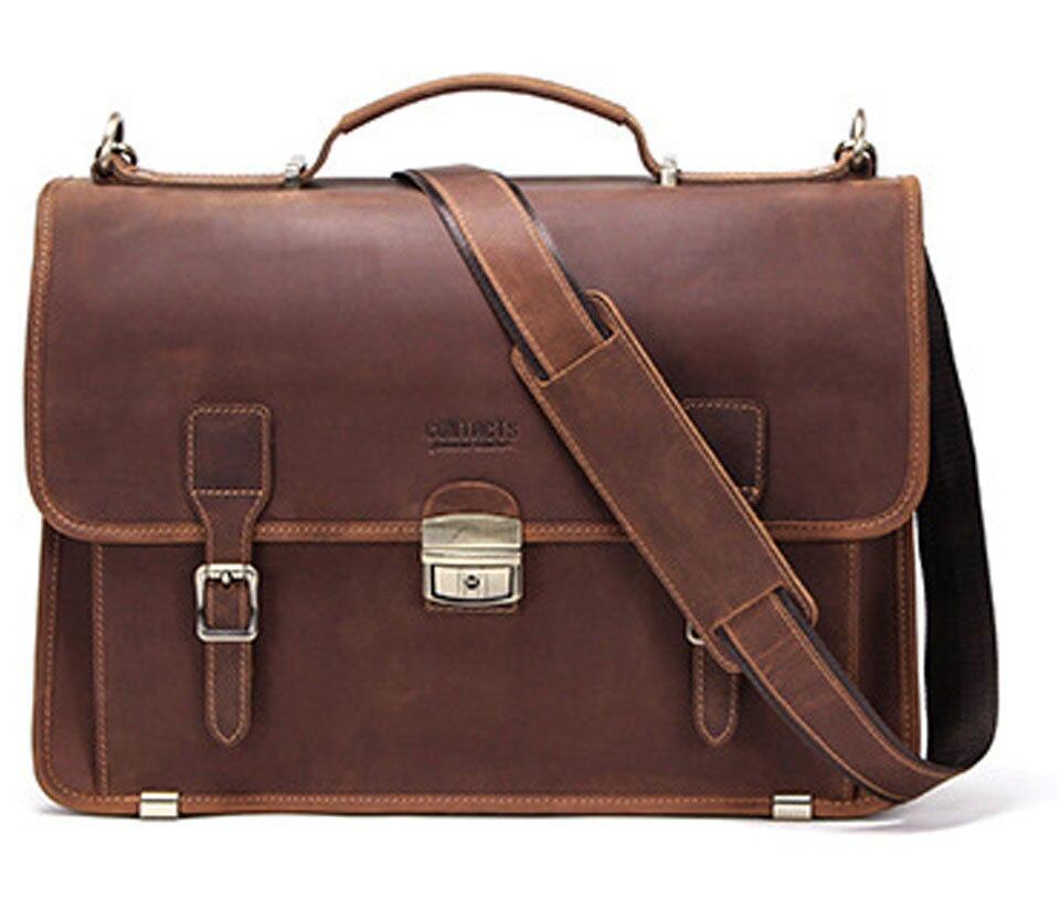 Портфель Crazy Horse из натуральной кожи, мужской портфель, брендовая роскошная мужская сумка-мессенджер для мужчин, деловые сумки на плечо