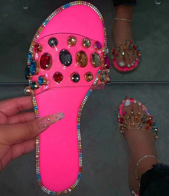 Red/blue Snake Pattern Gem PVC Women Outdoor Candy-colored Beach Sandals Spring Summer Bright Rhinestones Sandalias Mujer