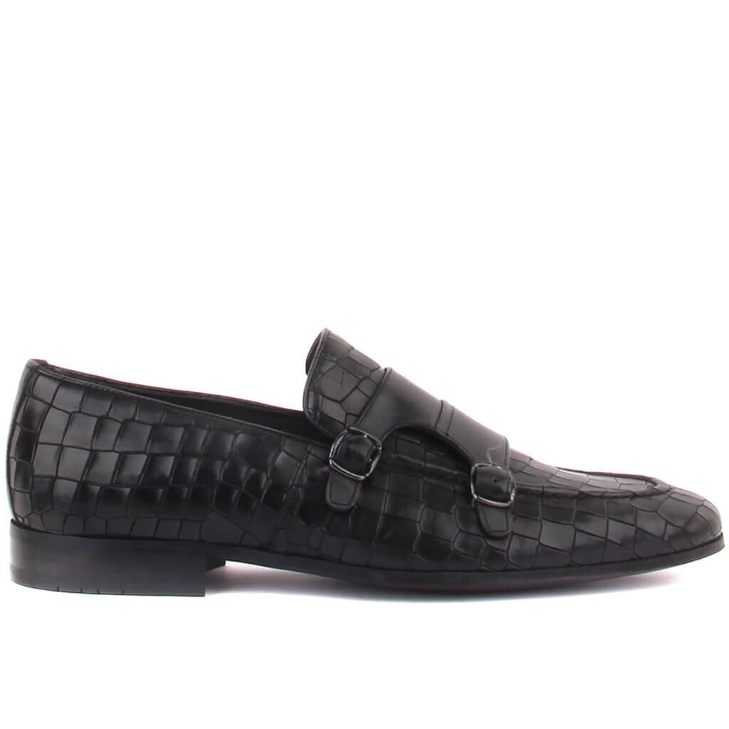 Fosco-sapatos clássicos masculinos com fivela de couro preto