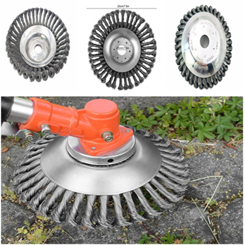 200mm Steel Wire Grass Trimmer Head Tray Brush Cutter Rotary Wheel Edge Head Break-proof Safe Strimmer For Lawn Mover Parts Tool