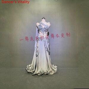 Image 2 - מותאם אישית בטן ריקוד סרט חזייה Applique חצאית נשים מזרחי הודי תוף ריקוד תחרות ביצועים תלבושות במה אנחנו