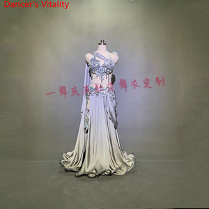 Image 2 - Customized Belly Dance Ribbon Bra Applique Skirt Women Oriental Indian Drum Dance Competition Performance Costume Stage We