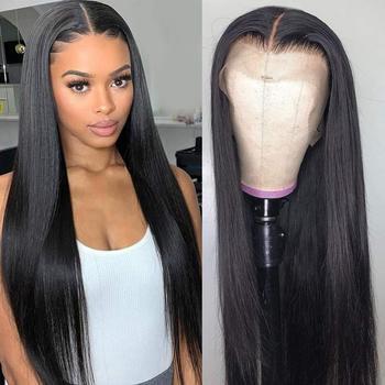 Puromi-pelucas de malla con división frontal 13x4x1 pelucas de cabello humano liso brasileño no Remy, pieza de encaje en T, prearrancada de 10-28 pulgadas